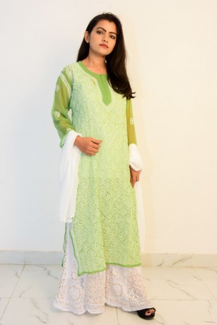 buy-hand-embroidered-lucknowi-chikan-parrot-green-georgette-kurti-big-0