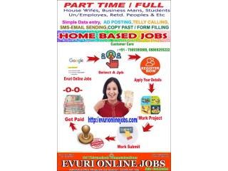 Online Jobs,Part time Jobs,Home Based Jobs for House wives, Data Entry Typing Jobs